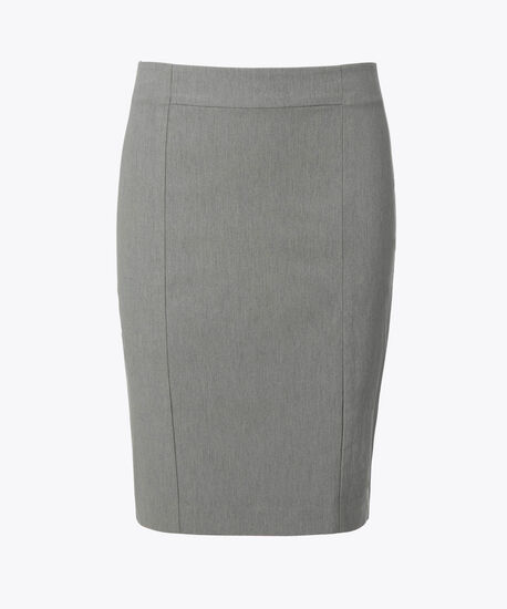 Microtwill Pull-On Pencil Skirt, Heather Grey, hi-res