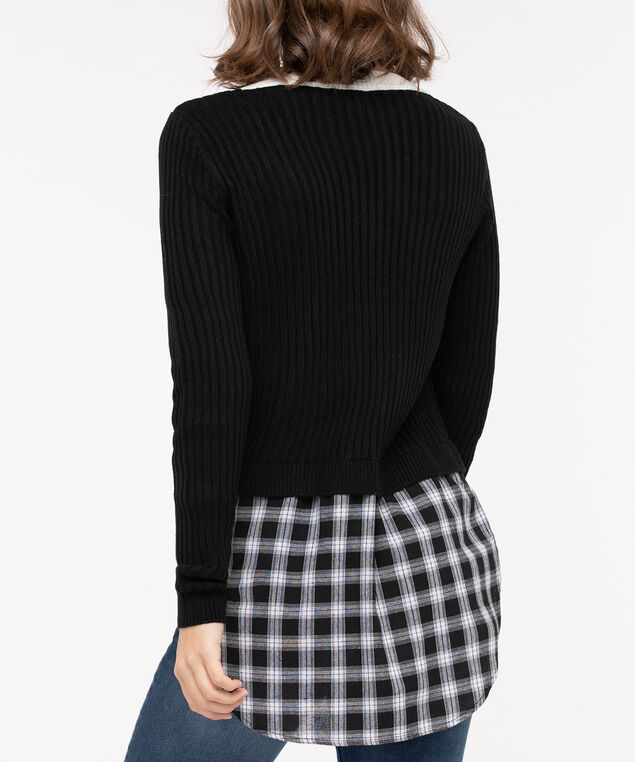 Plaid Fooler Hem V-Neck Sweater, Black/Pearl, hi-res