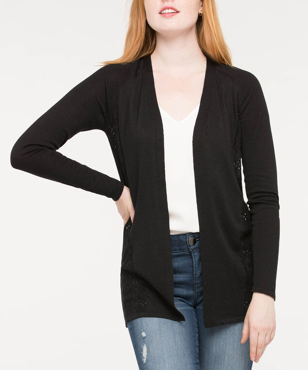 Pointelle Mid Length Open Cardigan, Black, hi-res