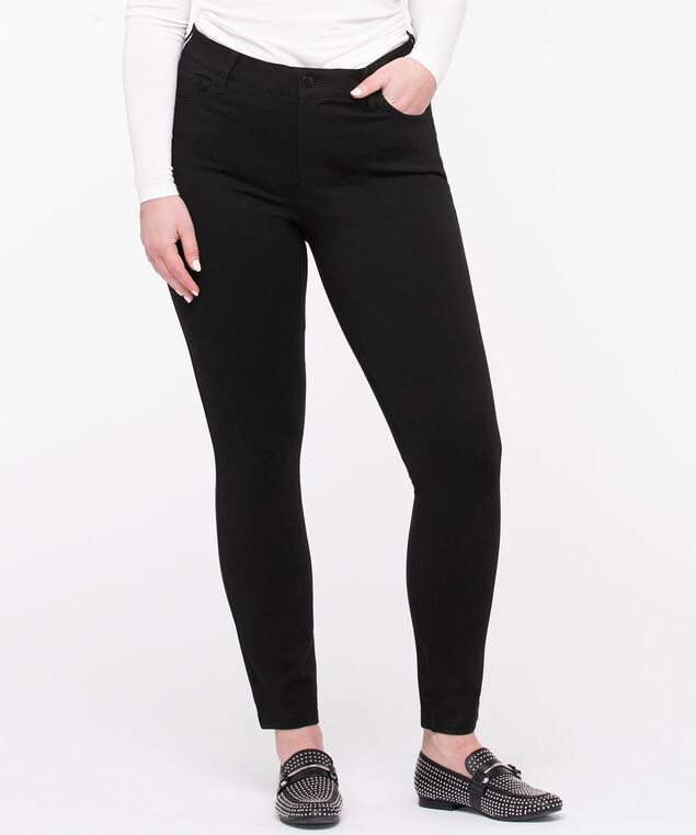 Black Ponte Button Front Skinny Leg, Black