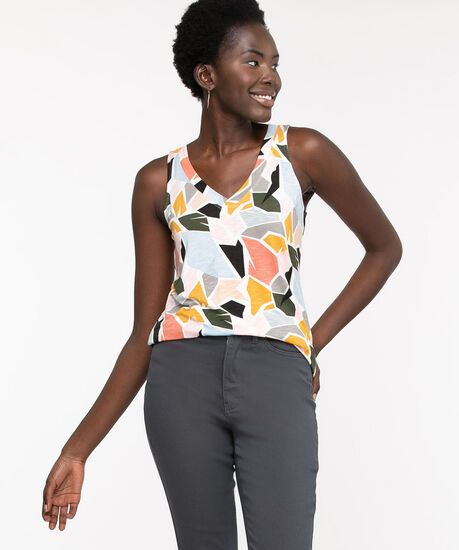 Sleeveless V-Neck Swing Top, Snow White Abstract, hi-res
