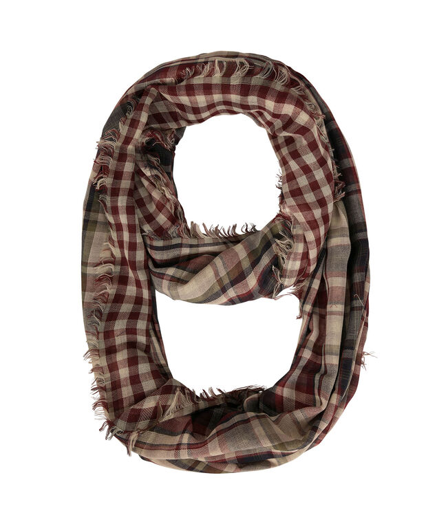 Plaid Infinity Scarf, Wine/Navy/Olive, hi-res