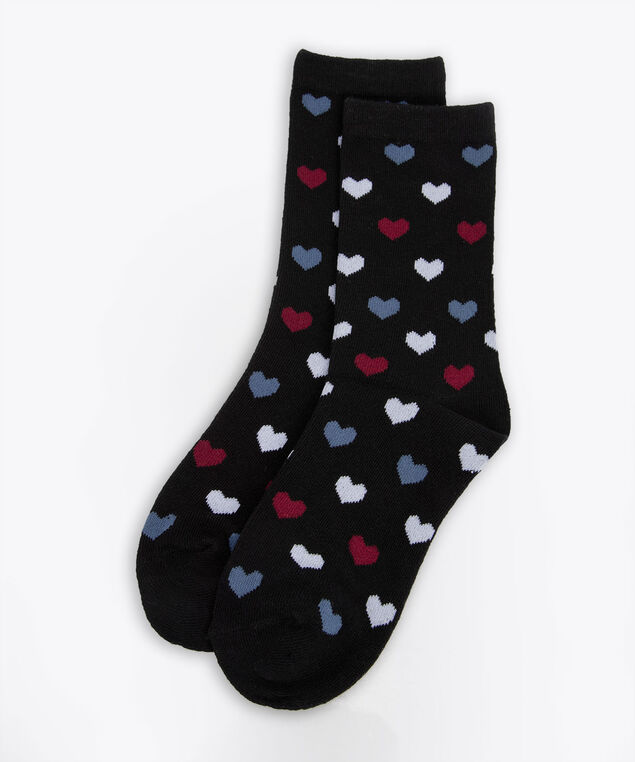 Heart Pattern Socks, Black/Steel Blue/Burgundy, hi-res