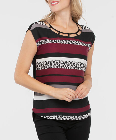 Extended Sleeve Mixed Media Top, Burgundy/Black/Grey, hi-res