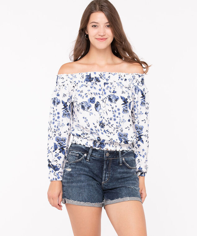 Off-The-Shoulder Smocked Top, Pearl/Indigo/Summer Navy, hi-res