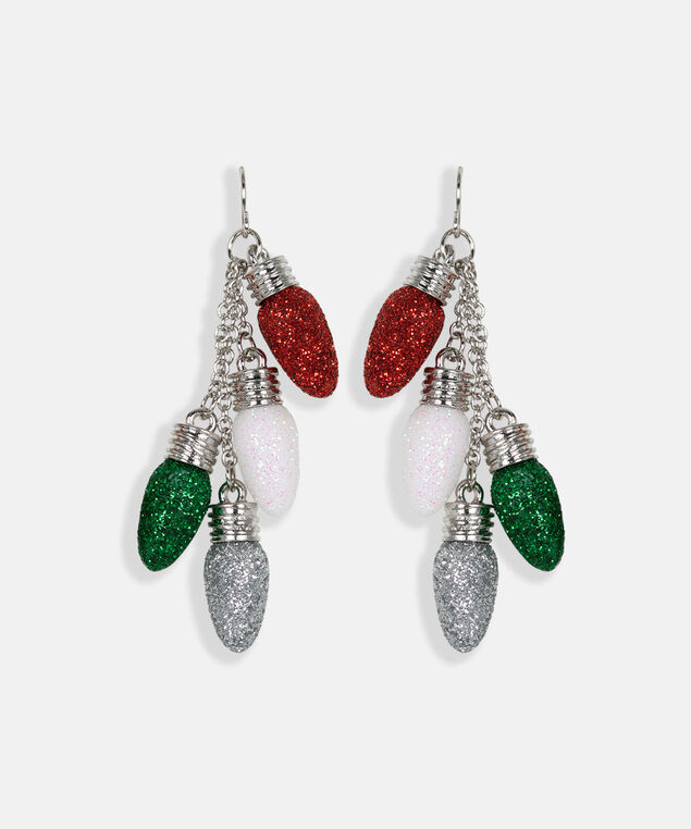 Christmas Light Earring, Crimson/Pearl/Rhodium, hi-res