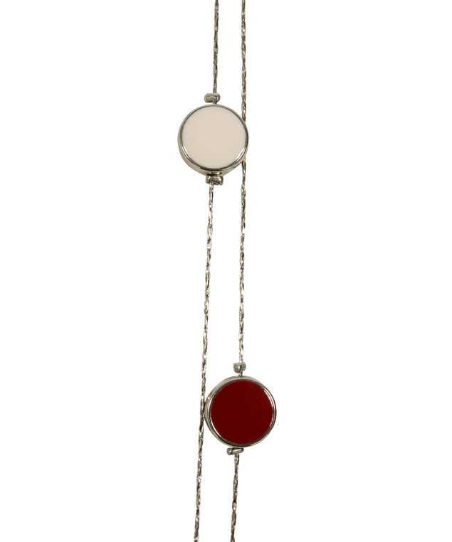 Stationed Epoxy Bead Necklace, Cherry/Black/Milkshake/Rhodium, hi-res