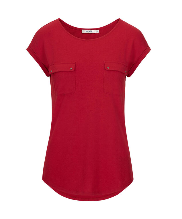Extended Sleeve Front Pocket Top, Cherry, hi-res