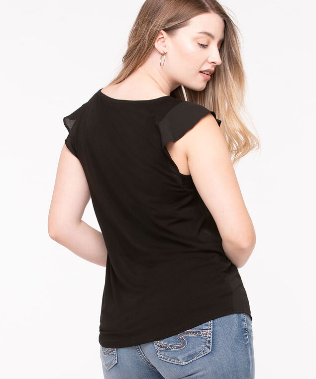 Embroidered Trim Mixed Media Top, Black, hi-res