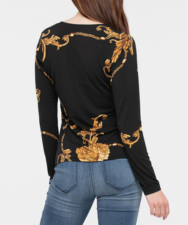 Chain Print Cross Front Top, Black/Marigold, hi-res