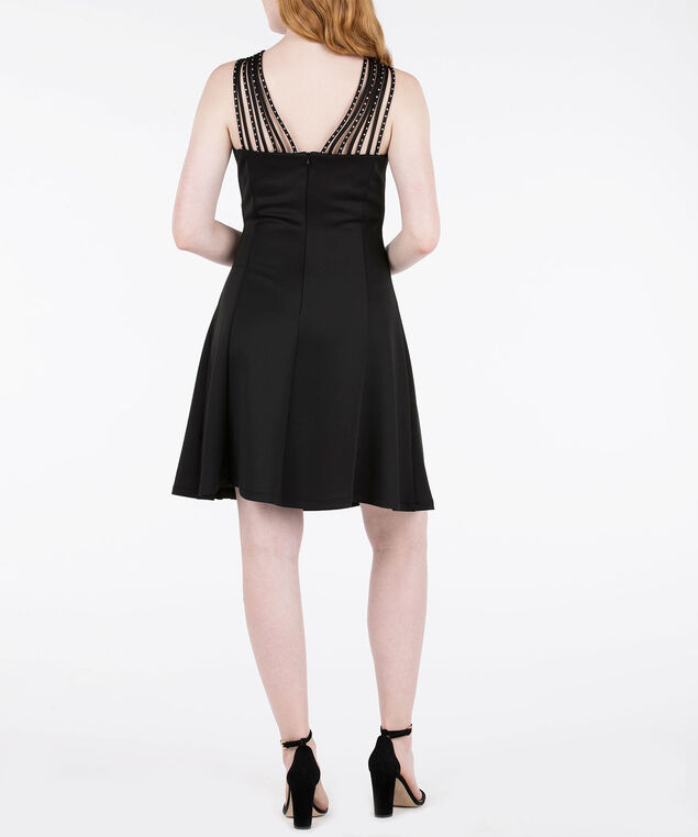 Silver Studded Strappy Black Dress, Black, hi-res