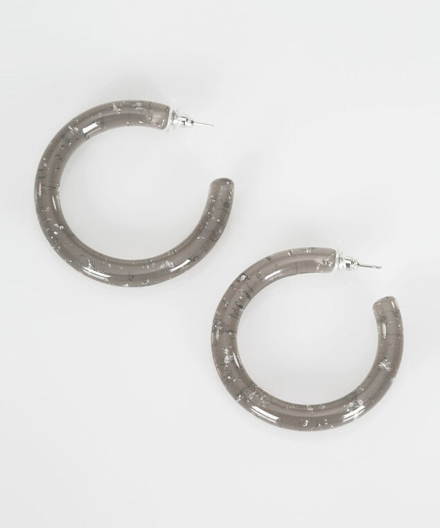 Resin Hoop Earring, Mid Heathered Grey, hi-res
