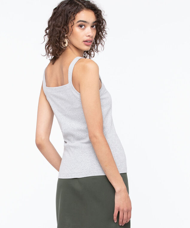 Square Neck Cami, Light Grey, hi-res