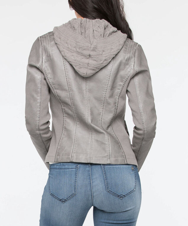 Knit Hood Pleather Jacket, Grey, hi-res