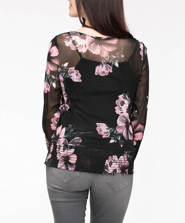 Floral Print Smocked Hem Top, Black/Dusty Blush, hi-res
