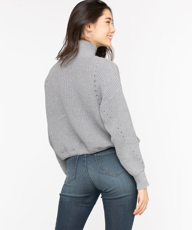 Eco-Friendly Drawstring Sweater, Light Grey