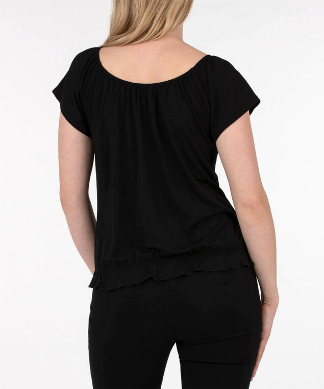 Off Shoulder Button Front Top, Black, hi-res