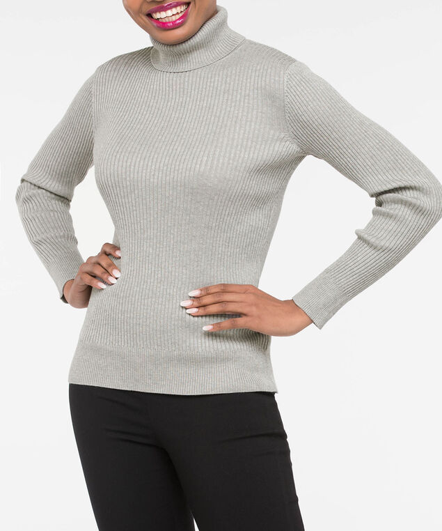 Ribbed Knit Turtleneck Sweater, Heather Grey, hi-res