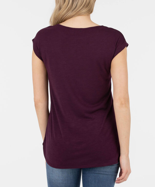 Roll Cuff Extended Sleeve Top, Plum, hi-res