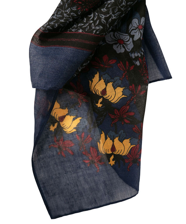 Floral Mosaic Square Scarf, Deep Sapphire/Marigold/Ruby, hi-res