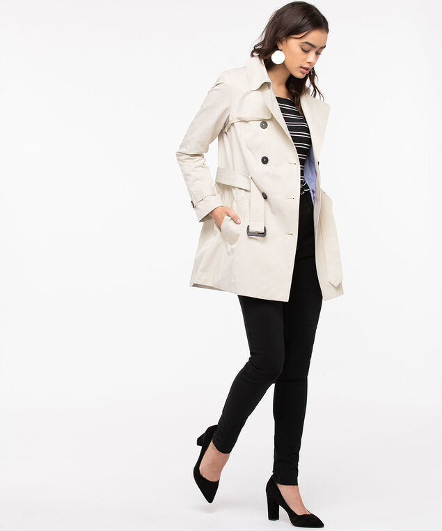 Belted Double Breasted Trench Coat, Sand, hi-res