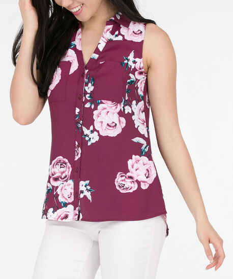 Sleeveless Collared Button-Down Blouse, Black Cherry/Pink/Teal, hi-res