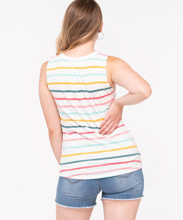 Sleeveless Henley Knit Top, Pearl/Aqua/Yellow/Blush, hi-res