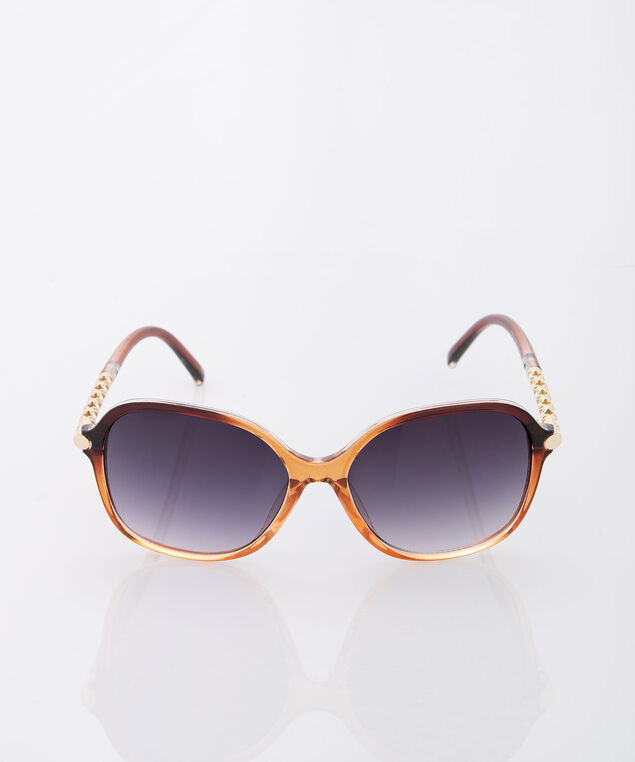 Square Cutout Ombre Sunglasses, Brown/Gold, hi-res