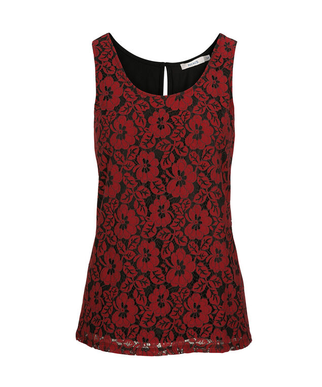Floral Embroidered Sleeveless Top, Cherry/Black, hi-res