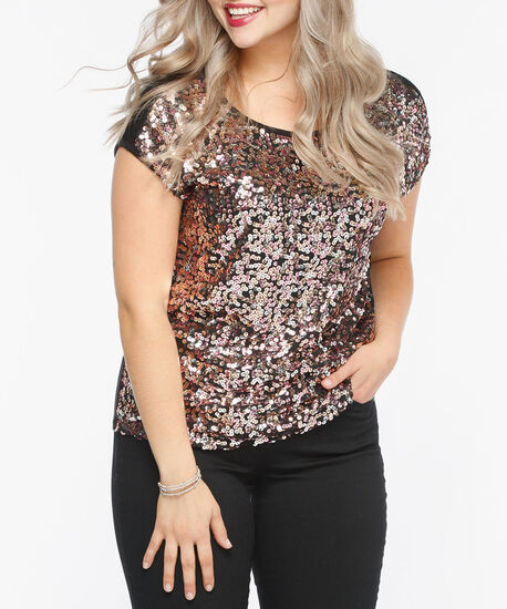 Extended Sleeve Sequin Front Top, Black/Dusty Blush, hi-res