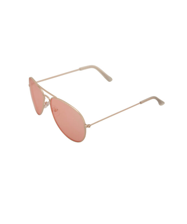 Coloured Lens Aviator Sunglasses, Peach Sorbet/Gold, hi-res