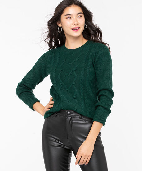 Pom Pom Cable Knit Pullover, Emerald Green, hi-res