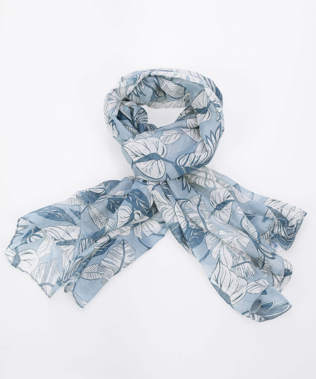 Tropical Leaf Oblong Scarf, Blue/Pearl, hi-res