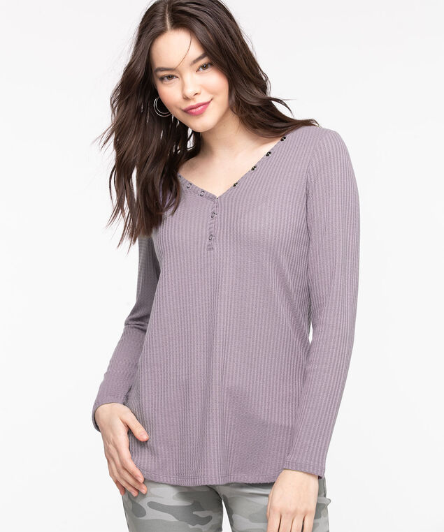 Waffle Knit V-Neck Top, Orchid Petal