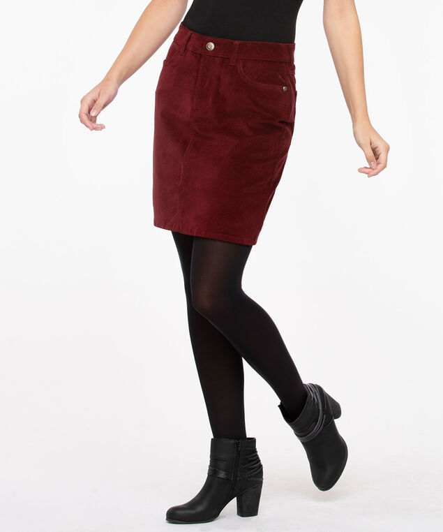Fly Front Corduroy Mini Skirt, Dark Rust, hi-res