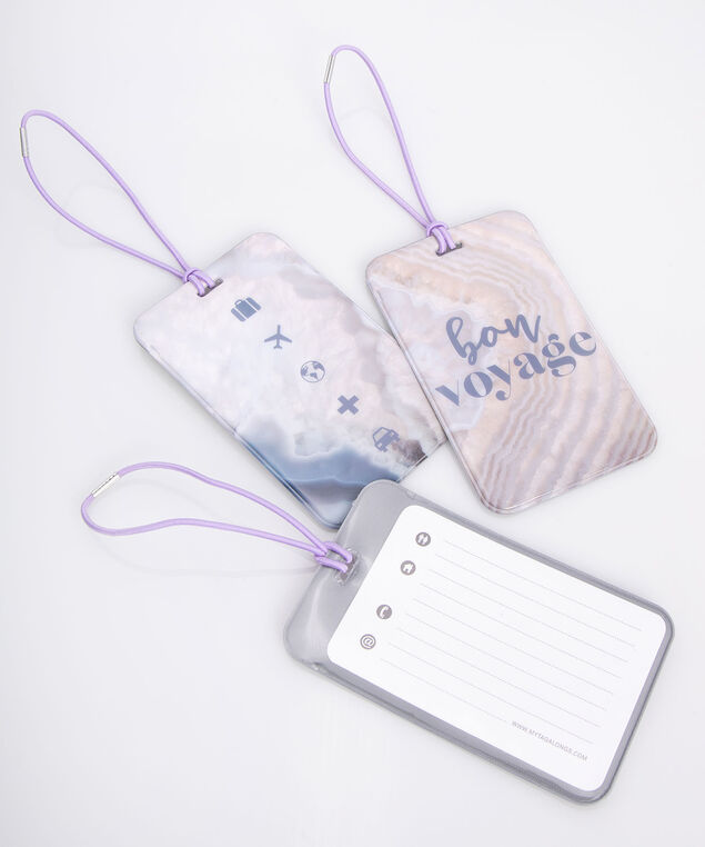 Marble Luggage Tag Set, Lilac/Grey/Pearl, hi-res