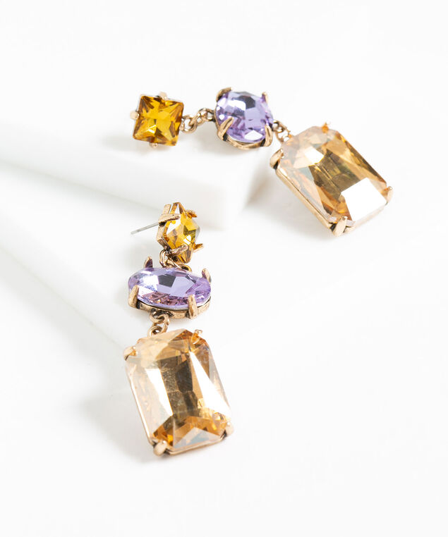 Crystal Statement Earring, Purple/Amber/Gold Metal, hi-res