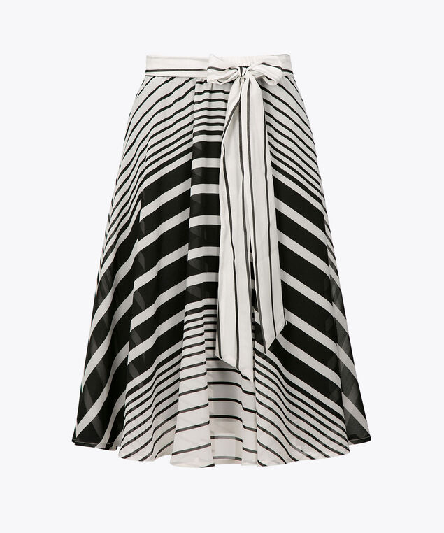 Striped Chiffon Midi Skirt, Black/Pearl, hi-res