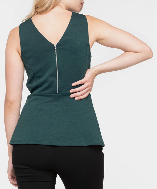 Sleeveless Ponte Peplum Top, Ivy, hi-res