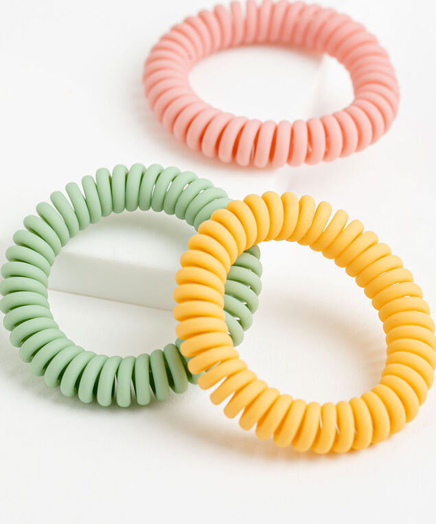 Pastel Coiled Hair Elastic 3-Pack, Pink/Yellow/Green
