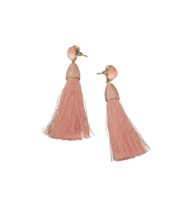 Thread Wrapped Tassel Drop Earring, Peach Sorbet/Soft Gold, hi-res