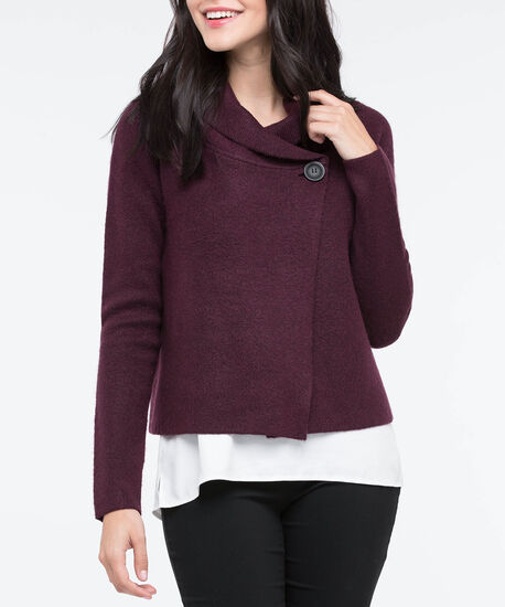 One Button Cropped Sweater Jacket, Burgundy, hi-res