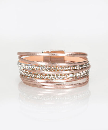 Iced Pink Magnetic Wrap Bracelet, Iced Pink/Clear/Rhodium, hi-res