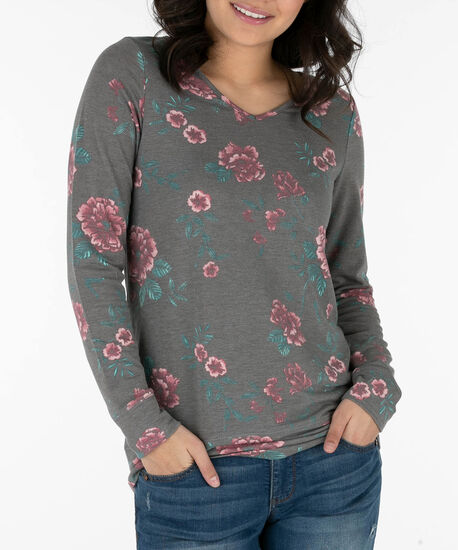 Open Bow-Tie Back Pullover, Grey/Pink/Emerald, hi-res