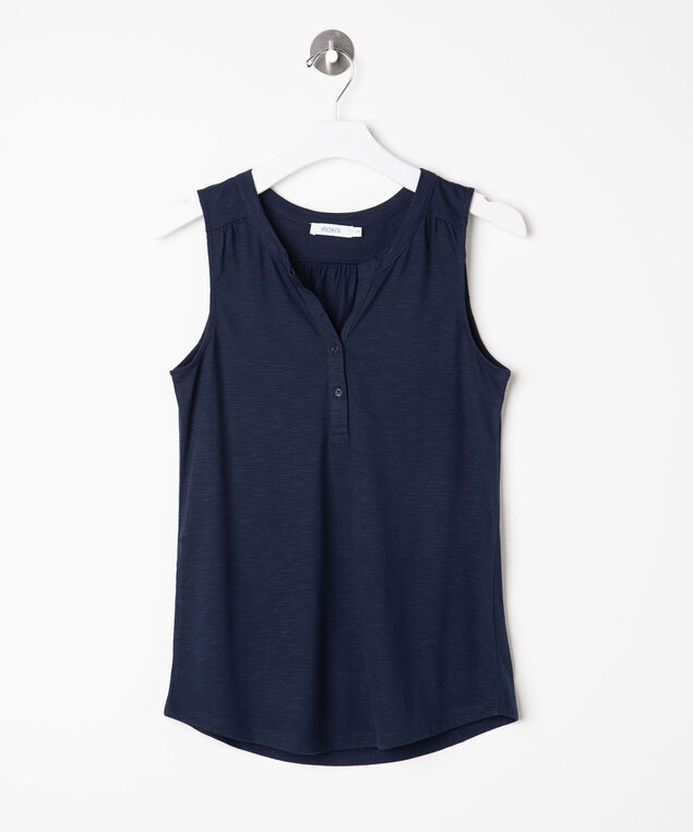 Sleeveless Henley Knit Top, Summer Navy, hi-res