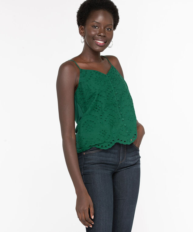 Strappy Eyelet Mixed Media Top, Emerald, hi-res