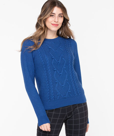 Pom Pom Cable Knit Pullover, Blue, hi-res