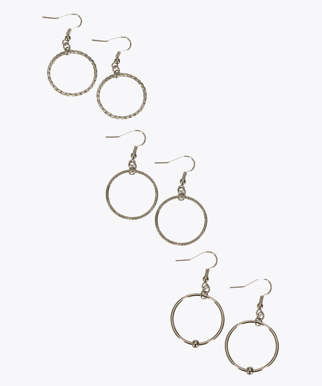 Drop Hoop Earring Trio Set, Rhodium, hi-res