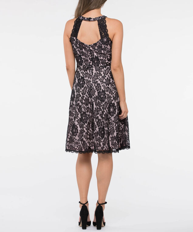 Halter Lace Illusion Neck Dress, Black/Soft Pink, hi-res