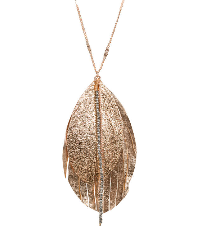 Faux Leather Feather Pendant Necklace, Rose Gold, hi-res